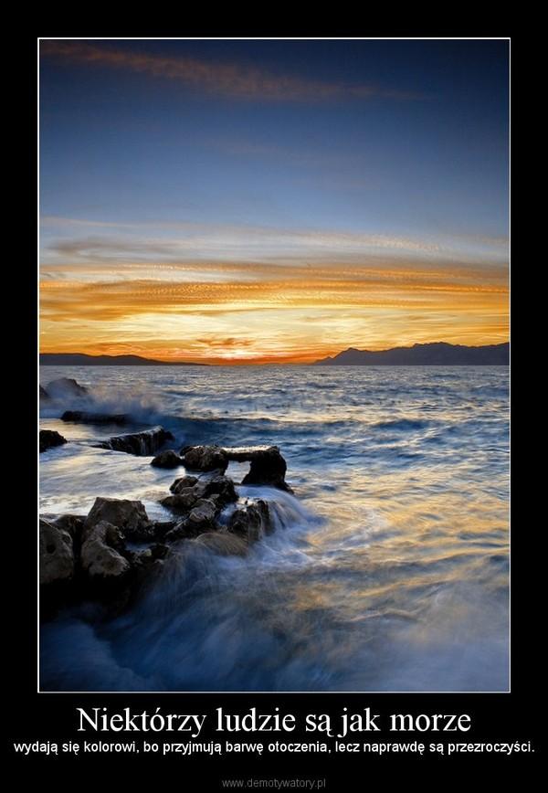 Niektórzy ludzie są jak morze – wydają się kolorowi, bo przyjmują barwę otoczenia, lecz naprawdę są przezroczyści.