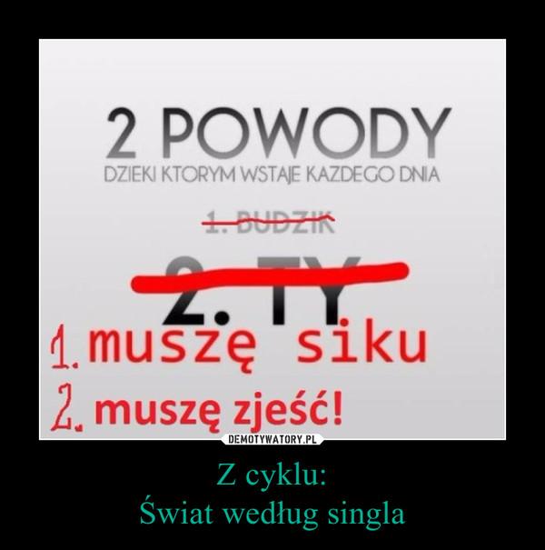 Z cyklu:Świat według singla –  2 POWODY DZIĘKI KTÓRYM WSTAJĘ KAŻDEGO DNIA1. BUDZIK2. TY1. muszę siku2. muszę zjeść!