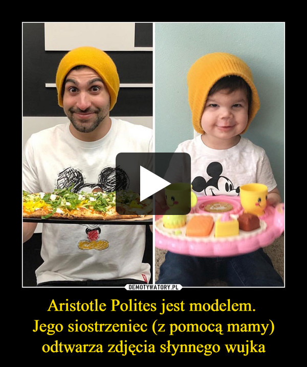 Aristotle Polites jest modelem. Jego siostrzeniec (z pomocą mamy) odtwarza zdjęcia słynnego wujka –
