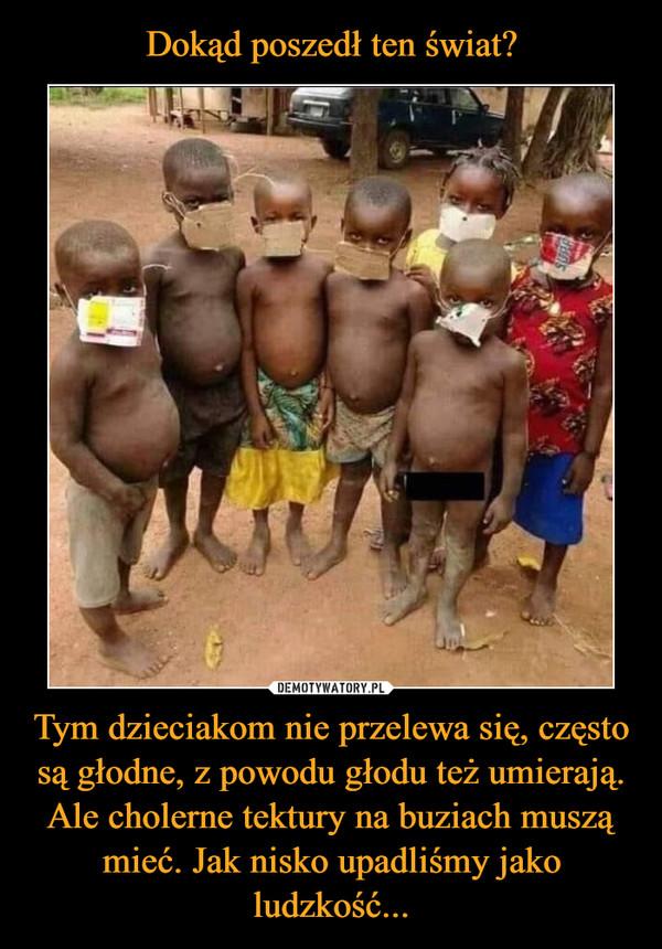 Tym dzieciakom nie przelewa się, często są głodne, z powodu głodu też umierają. Ale cholerne tektury na buziach muszą mieć. Jak nisko upadliśmy jako ludzkość... –