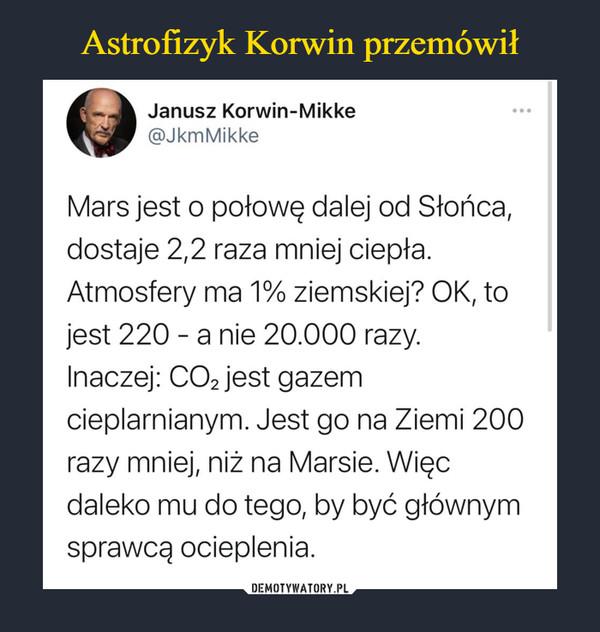 –  Janusz Korwin-Mikke - @JkmMikke Mars jest o połowę dalej od Słońca, dostaje 2,2 raza mniej ciepła. Atmosfery ma 1% ziemskiej? OK, to jest 220 - a nie 20.000 razy. Inaczej: CO2 jest gazem cieplarnianym. Jest go na Ziemi 200 razy mniej, niż na Marsie. Więc daleko mu do tego, by być głównym sprawcą ocieplenia.