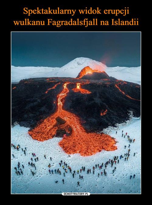 Spektakularny widok erupcji wulkanu Fagradalsfjall na Islandii