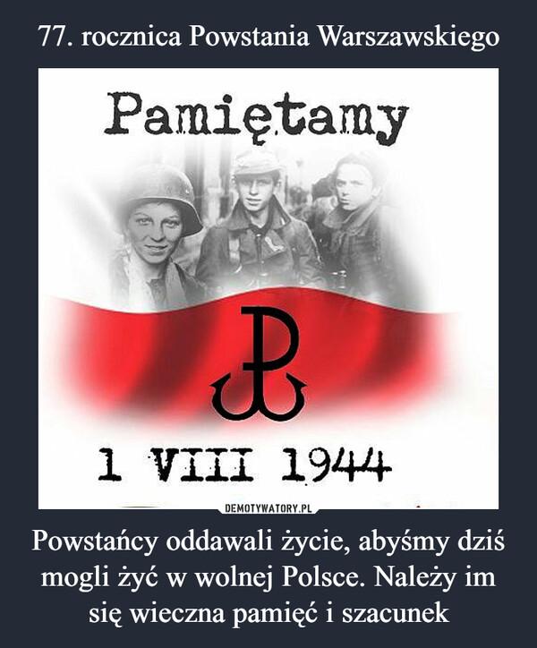 Powstańcy oddawali życie, abyśmy dziś mogli żyć w wolnej Polsce. Należy im się wieczna pamięć i szacunek –
