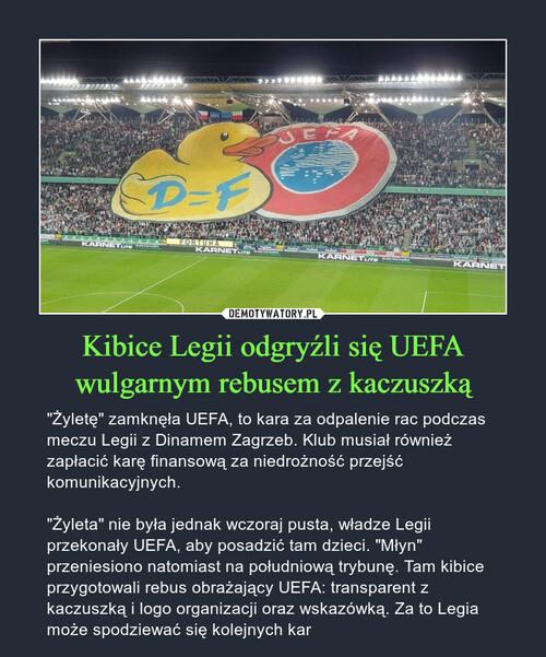 Kibice Legii odgryźli się UEFA wulgarnym rebusem z kaczuszką