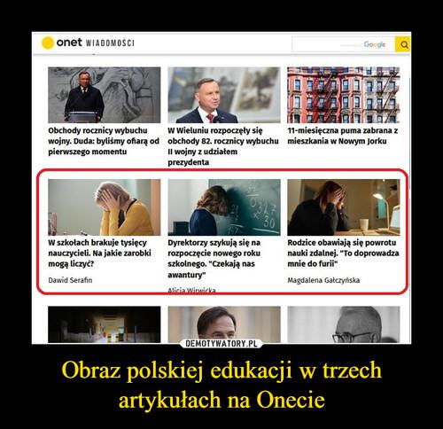 Obraz polskiej edukacji w trzech artykułach na Onecie