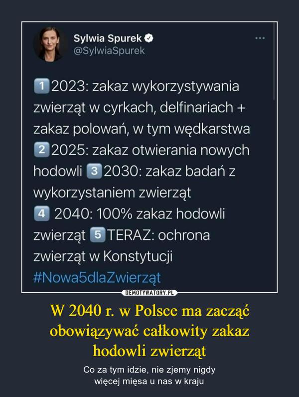 """W 2040 r. w Polsce ma zacząćobowiązywać całkowity zakazhodowli zwierząt – Co za tym idzie, nie zjemy nigdywięcej mięsa u nas w kraju Sylwia Spurek 41 @SylwiaSpurek 992023: zakaz wykorzystywania zwierząt w cyrkach, delfinariach + zakaz polowań, w tym wędkarstwa 2 2 0 2 5 : zakaz otwierania nowych hodowli -T2030: zakaz badań z wykorzystaniem zwierząt """"T 2040: 100% zakaz hodowli zwierząt -T TERAZ: ochrona zwierząt w Konstytucji #Nowa5dlaZwierząt"""