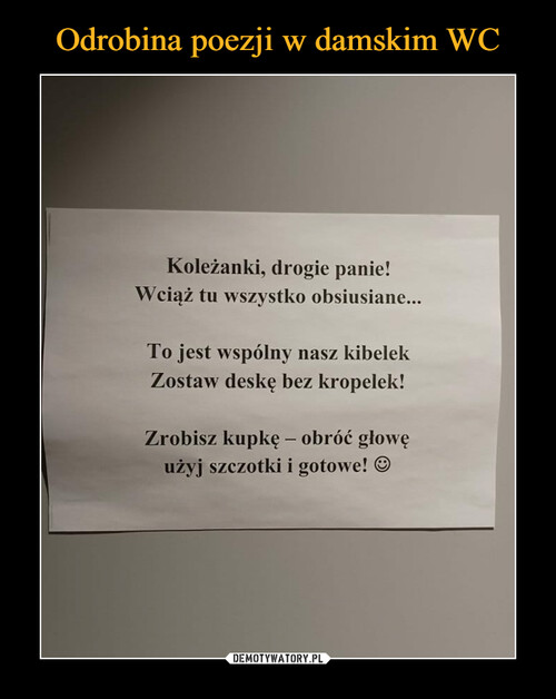 Odrobina poezji w damskim WC