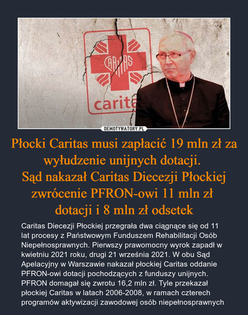 Płocki Caritas musi zapłacić 19 mln zł za wyłudzenie unijnych dotacji.  Sąd nakazał Caritas Diecezji Płockiej zwrócenie PFRON-owi 11 mln zł  dotacji i 8 mln zł odsetek